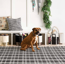 Load image into Gallery viewer, Dash & Albert - Tattersall Black Indoor/Outdoor Rug