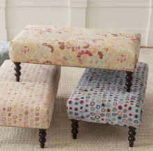 Load image into Gallery viewer, Dash & Albert - Cat's Paw Pastel Turned Leg Rug Ottoman