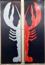 Load image into Gallery viewer, Framed 1/2 Lobster Painting - Right Claw Light Blue/Navy - Stephen Young