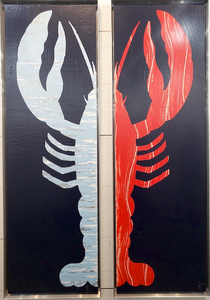 Framed 1/2 Lobster Painting - Right Claw Light Blue/Navy - Stephen Young