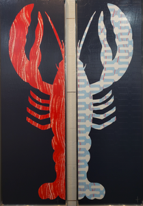 Framed Lobster Painting - Left Claw Red/Navy - Stephen Young