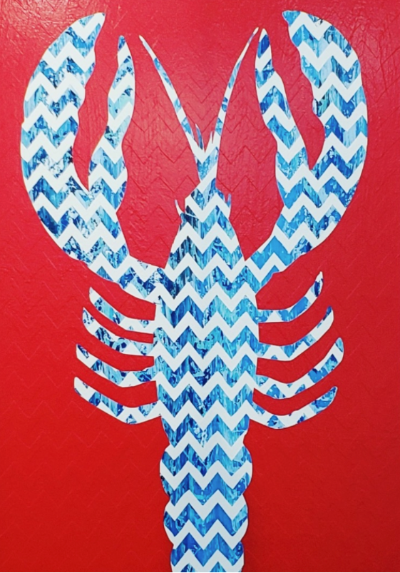 Framed Chevron Lobster Painting - Red/White/Blue- Stephen Young