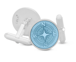 LOLA - Compass Rose Cufflinks - Light Blue