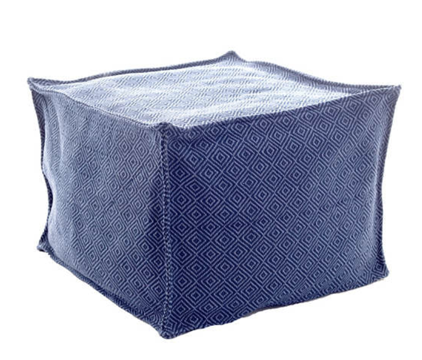 Dash & Albert - Petit Diamond Navy/Denim Indoor/Outdoor Pouf