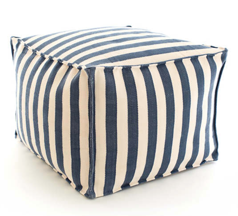 Dash & Albert Trimaran Stripe Navy/Ivory Indoor Outdoor Pouf