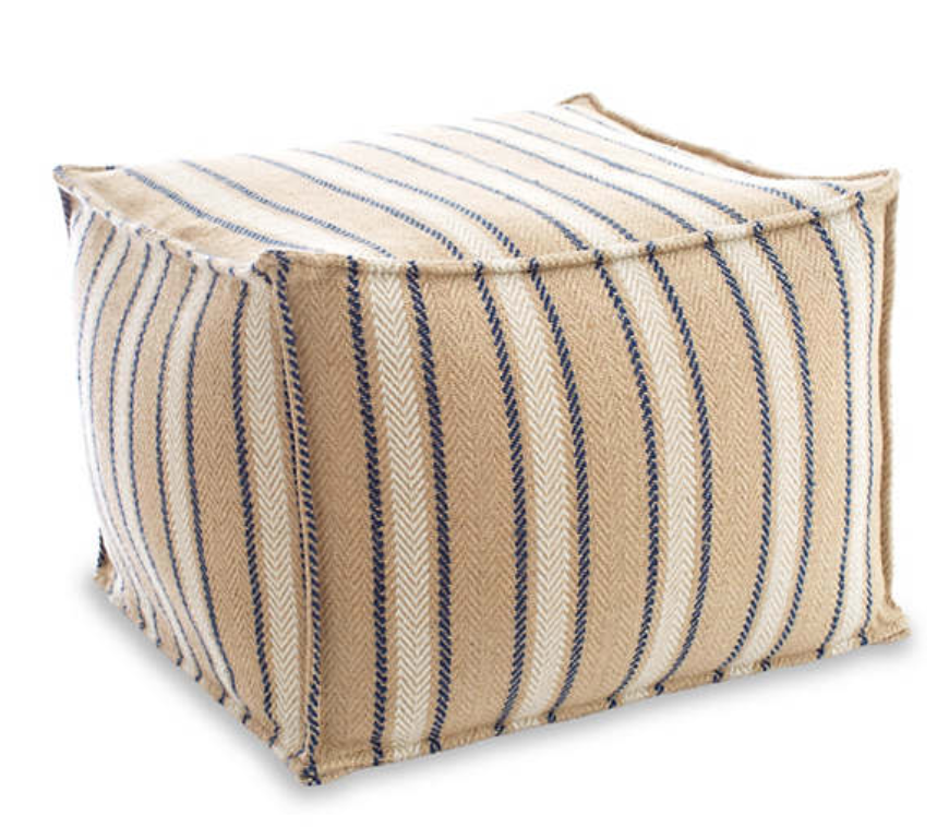 Dash & Albert - Cambridge Navy Indoor/Outdoor Pouf