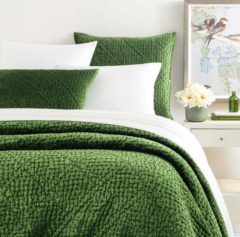 Pine Cone Hill - Parisienne Evergreen Velvet Bedding