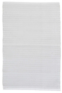 Dash & Albert - Herringbone Indoor/Outdoor Rug - Pearl Grey / White