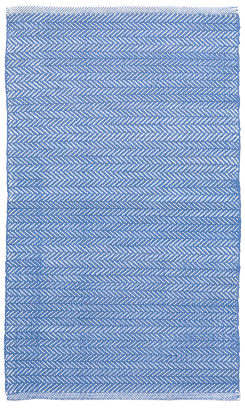 Dash & Albert - Herringbone Indoor/Outdoor Rug - French Blue / White