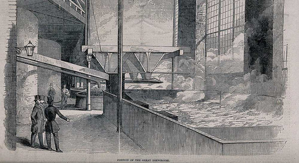 Barclay and Perkins brewery, Southwark: visitors watching beer fermenting in a large brewhouse. Wood-engraving, 1847.