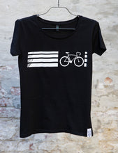 "Laden Sie das Bild in den Galerie-Viewer, T-Shirt ""Bike Line"", bio, schwarz, men"