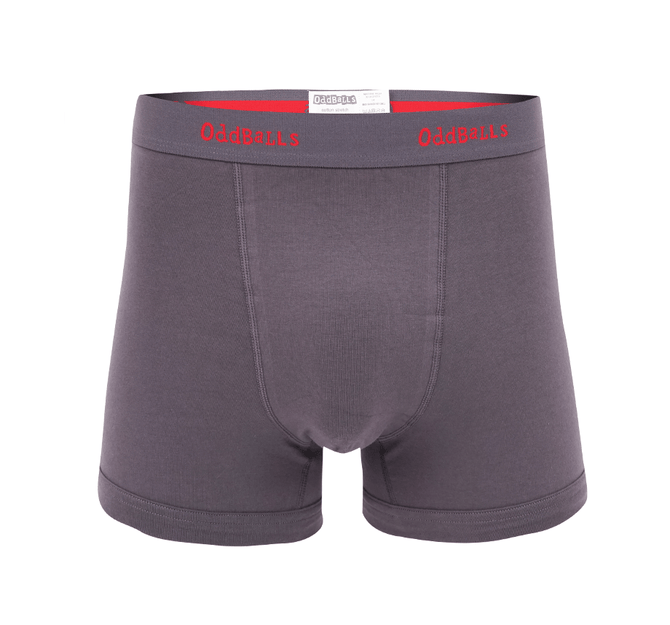 Charcoal & Red - Mens Boxer Shorts