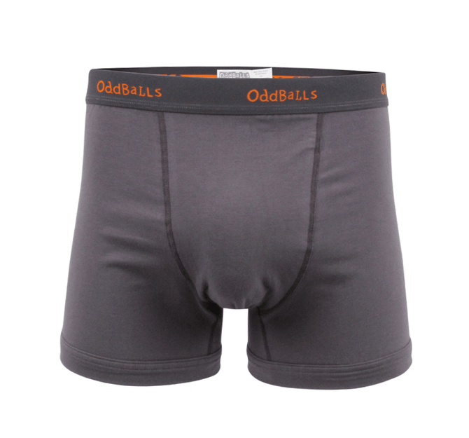 Mens Boxer Shorts - Classic Grey/Orange