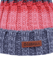 Knitted Obble Hat - 6 - Grey/Pink/Peach