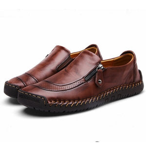 Men's Stitching Zipper Slip-ons Loafers Flats Casual Shoes