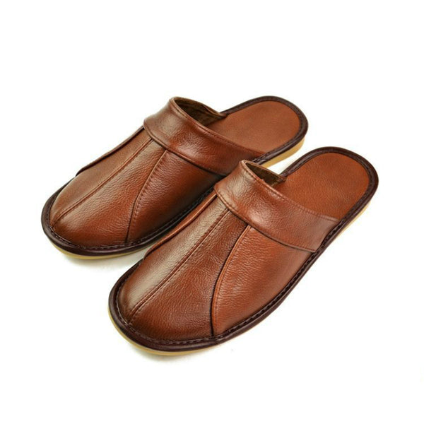 Luxury cow leather handmade men's home slippers