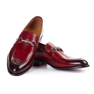 Double Buckle Red Men's Classic Leather Shoes