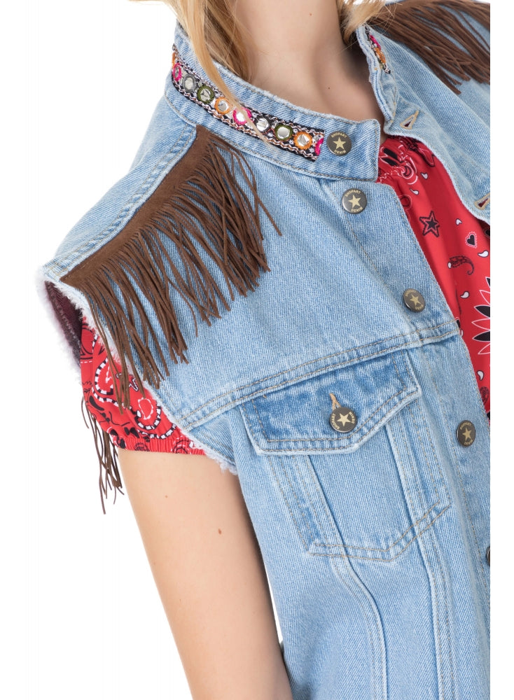 Smanicato in Denim Con Frange