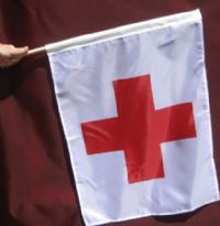 Flags - Set of 6 Red Cross Race Flag 30x30 with Pole
