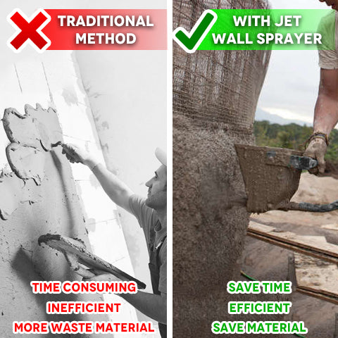 Messy and time consuming concrete application Vs. Stucco Sprayer