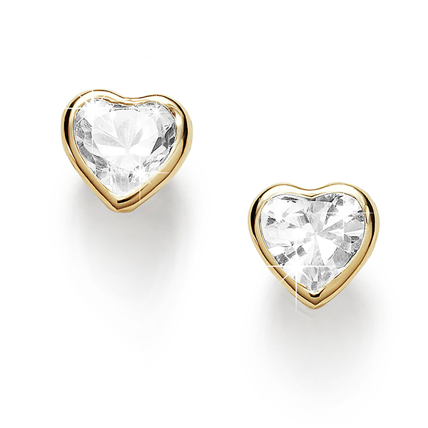 9 Carat Bezel-Set 4mm Heart Cubic Zirconia Earrings
