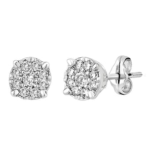 9ct WG 4 claw 0.16ct (OWLB) diamond cluster stud earrings