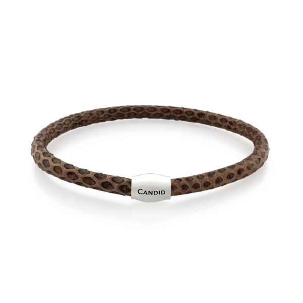 Candid Peach Snakeskin Leather Bracelet