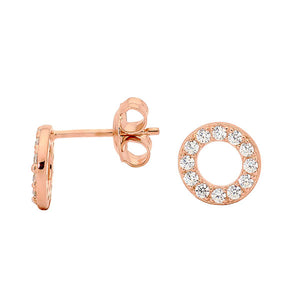Georgini Baby Circle Cubic Zirconia Stud Earring Rose Gold