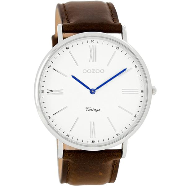 OOZOO Watch 44mm  silver with blue hands on white / brown