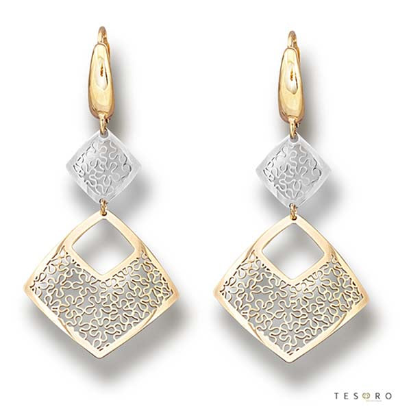 Tesoro Firenze Azzone Yellow & White Gold Drop Earrings