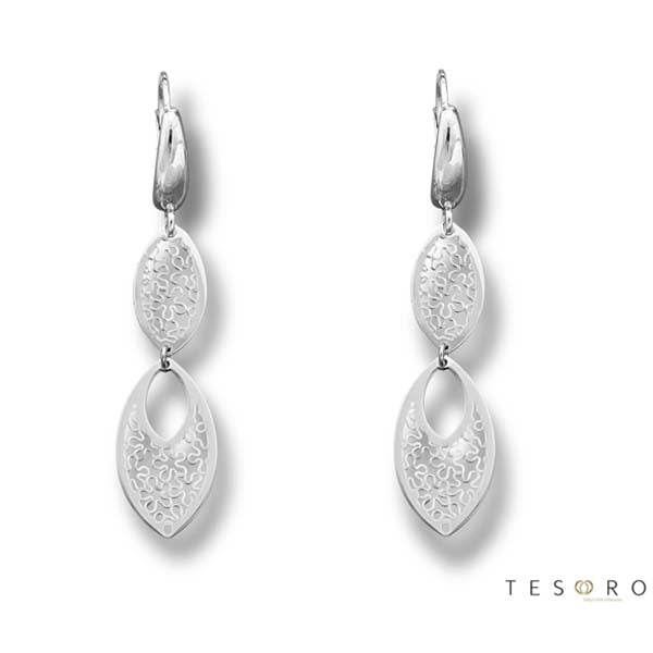 Tesoro Firenze Udine White Gold Drop Earrings