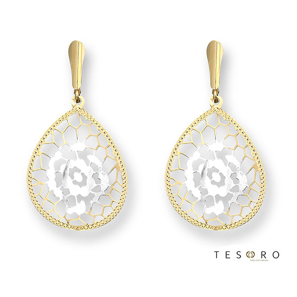 Tesoro Venezia Noventa Yellow & White Gold Drop Earrings