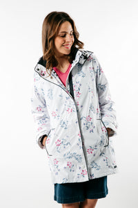 Captain Corsaire Womens 'Regate Ete' Raincoat - White / Floral