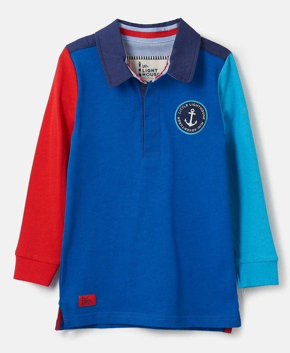 Lighthouse Kids Alfie long sleeve Rugby Shirt - Ocean Blue