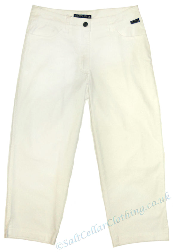 Captain Corsaire Womens 'Bogota' Cut Off Trousers / Capri Pants - White