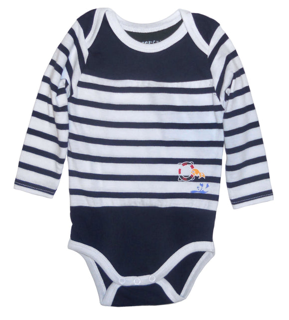 Captain Corsaire 'Nil' Long Sleeved Stripy Baby Bodysuit - Navy / White