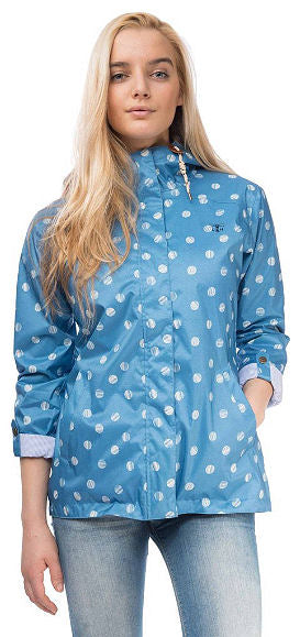 Lighthouse Womens 'Bluejay' Raincoat - Marine Blue Polka Dot