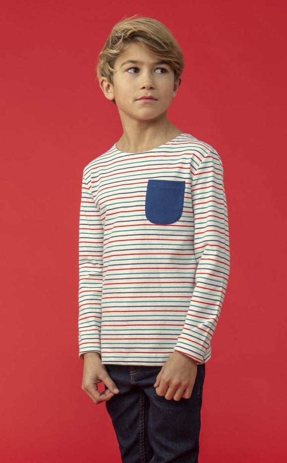 Lighthouse Kids Noah long sleeve tee - Multi stripe
