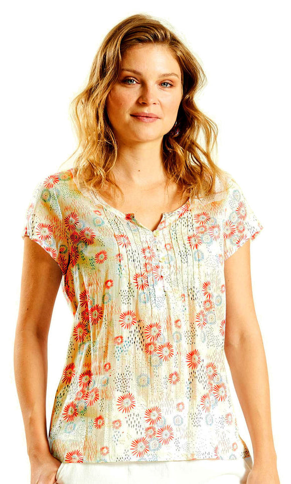 Nomads Womens Short Sleeved Floral Blouse - White / Guava