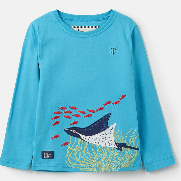 Lighthouse Kids Oliver long sleeve tee - Sting Ray Appliqué