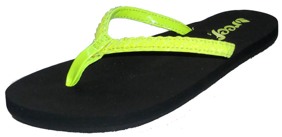 Reef Womens 'Twisted Stars' Flip Flops - Neon Yellow