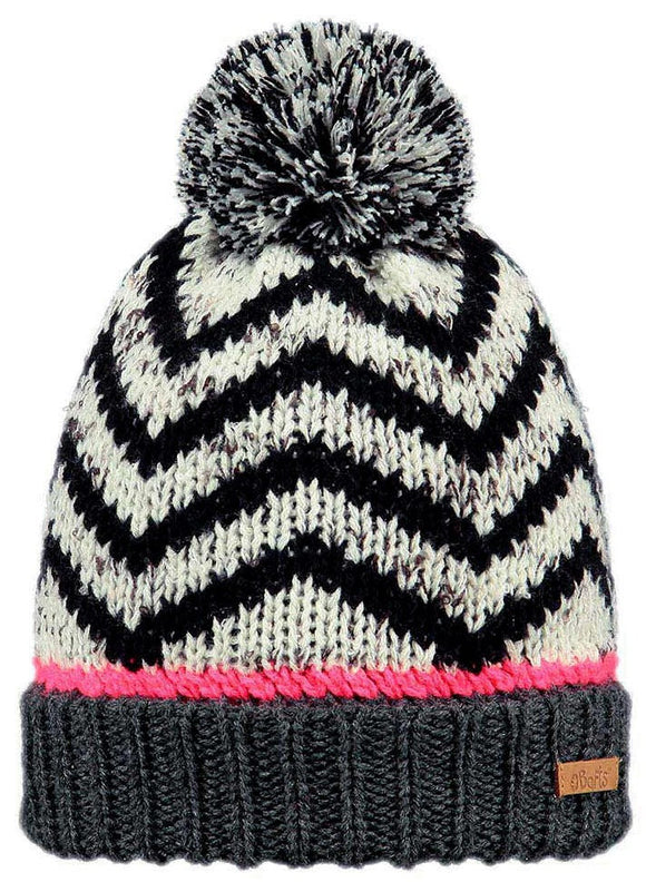 Barts Kids 'Samba' Zigzag Pattern Knitted Beanie - Dark Heather / Pink