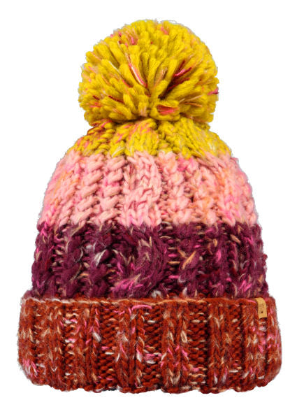 Barts Adults 'Sandy' Stripy Knitted Beanie - Rust