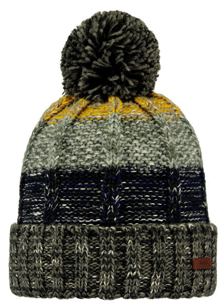 Barts Adults 'Vista' Stripey Knitted Beanie - Dark Heather Grey