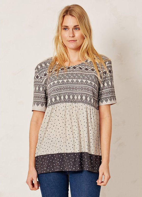 Braintree Womens Aztec Dotty Top - Charcoal / Off White