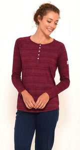 Brakeburn Womens Stripe Henley Top - Berry