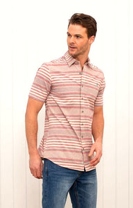 Brakeburn Mens Short Sleeve Stripe Shirt - Red