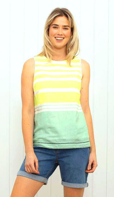 Brakeburn Womens Stripe Sleeveless Blouse - Yellow