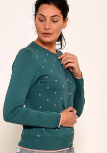 Brakeburn Womens Embroidered Cardigan - Teal
