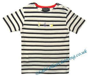 Captain Corsaire Kids 'Alvise' Nautical Print Striped Tee - White / Navy